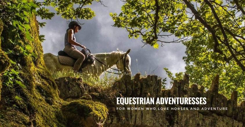 An equestrian adventuress crosses a medieval bridge in Albania